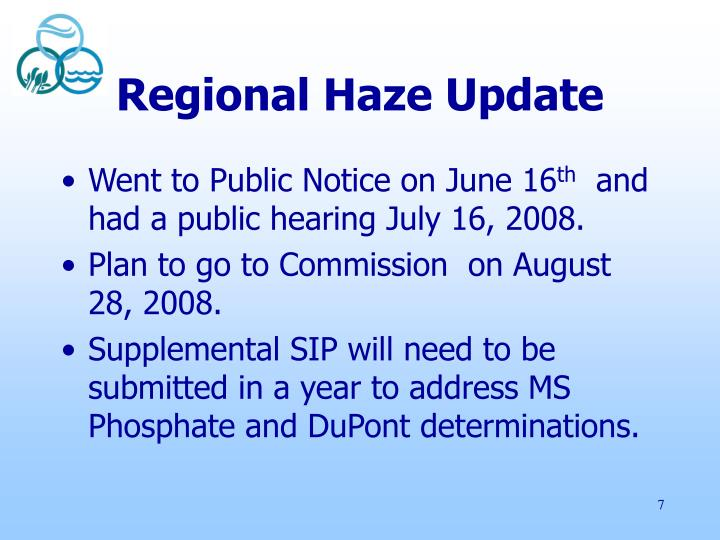 Regional Haze Update