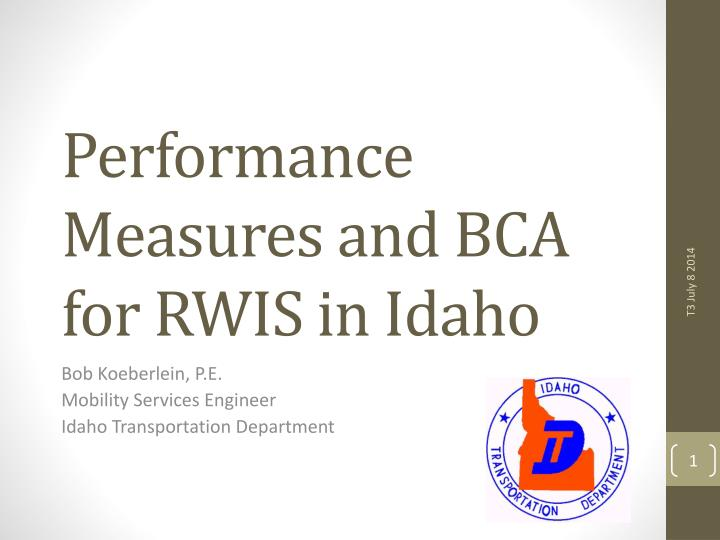 performance measures and bca for rwis in idaho n.