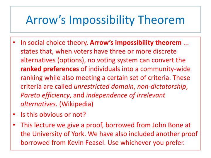 Arrow s impossibility theorem
