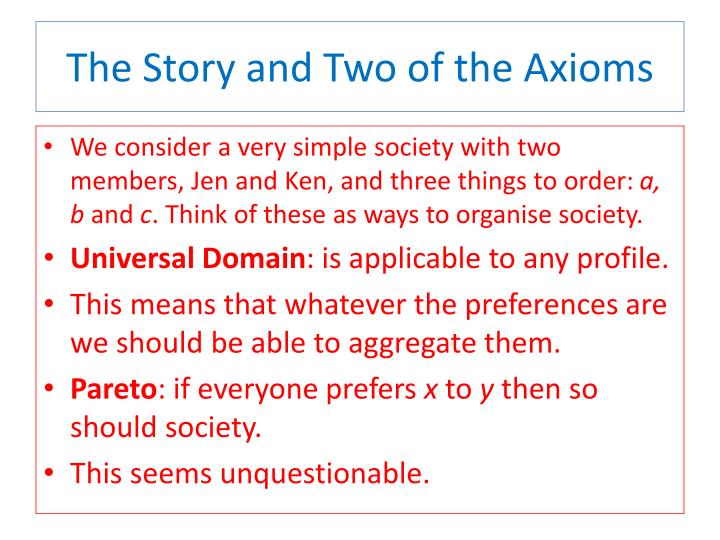 The Story and Two of the Axioms