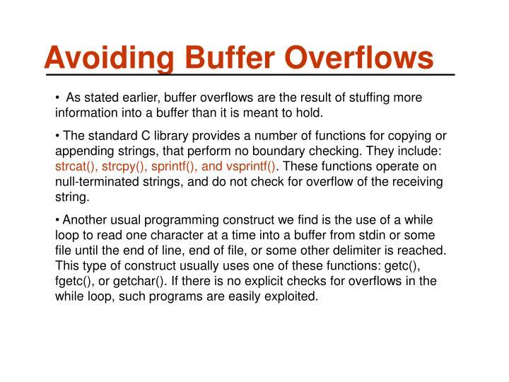 Avoiding Buffer Overflows