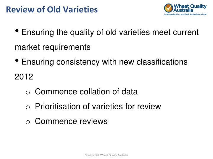 Review of Old Varieties