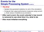 events for the simple processing system cont d1