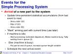 events for the simple processing system