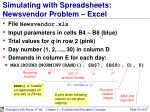 simulating with spreadsheets newsvendor problem excel