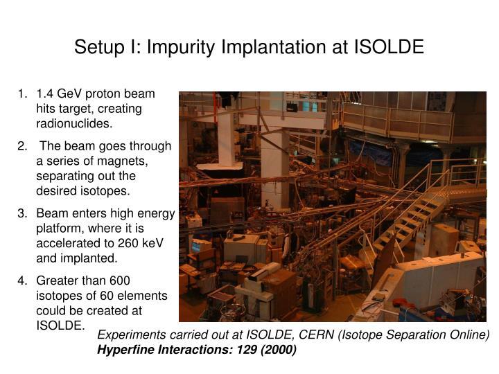 Setup I: Impurity Implantation at ISOLDE