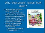 why dust wipes versus bulk dust