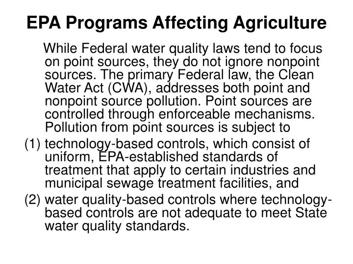 EPA Programs Affecting Agriculture