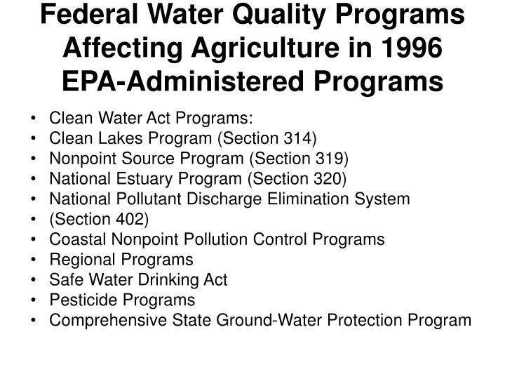 Federal Water Quality Programs