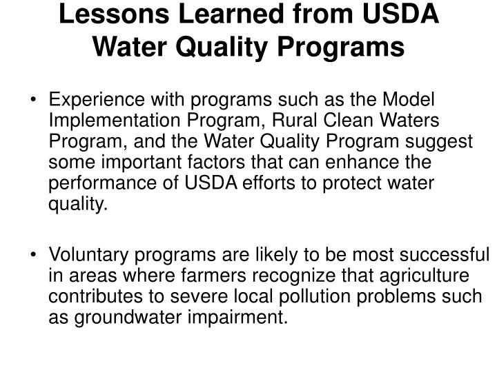 Lessons Learned from USDA Water Quality Programs