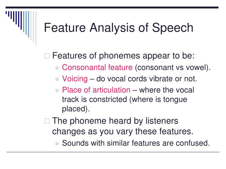 Feature Analysis of Speech