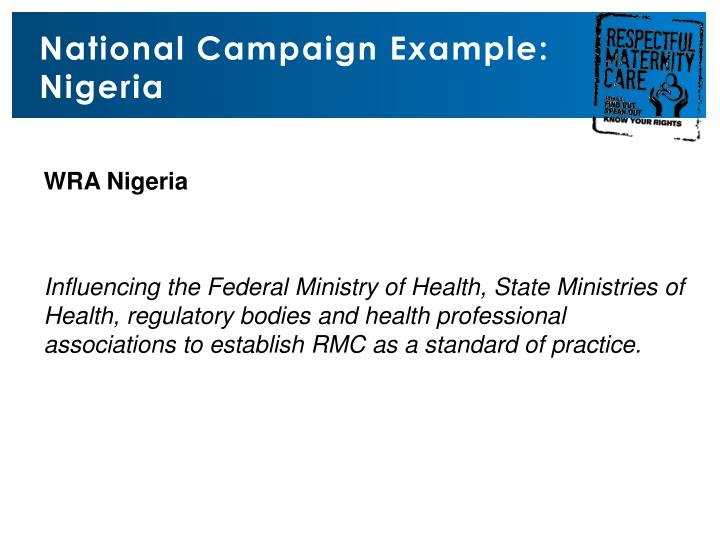 National Campaign Example: Nigeria
