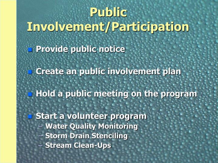 Public Involvement/Participation