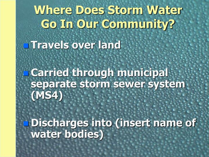 Where Does Storm Water