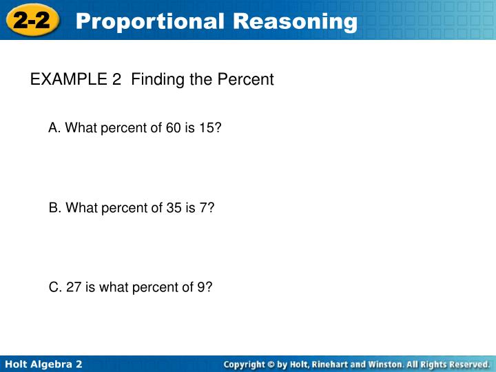 EXAMPLE 2  Finding the Percent