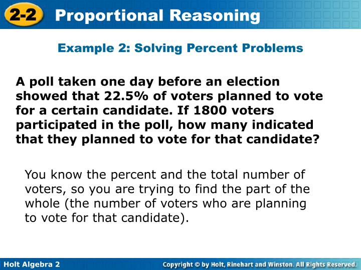Example 2: Solving Percent Problems