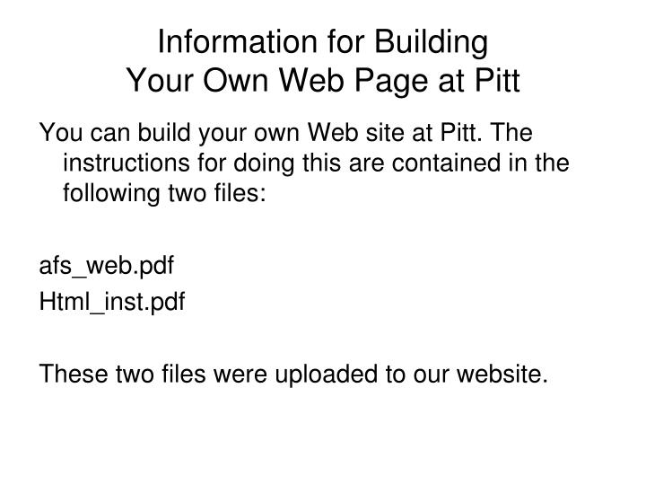 Information for Building