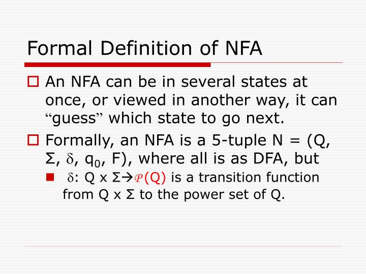Formal Definition of NFA