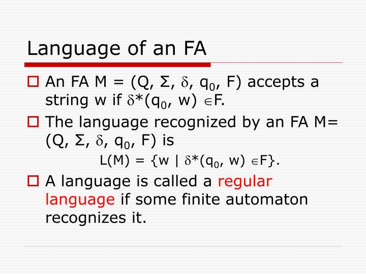 Language of an FA