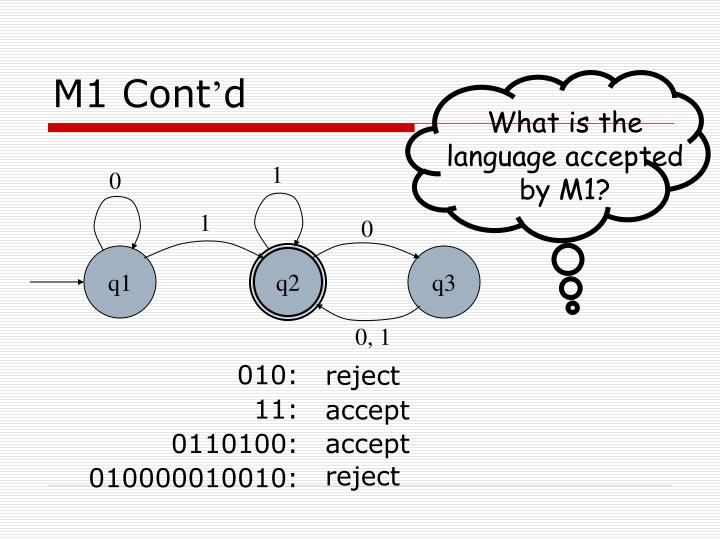 What is the language accepted by M1?