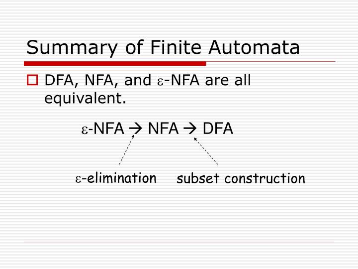 Summary of Finite Automata