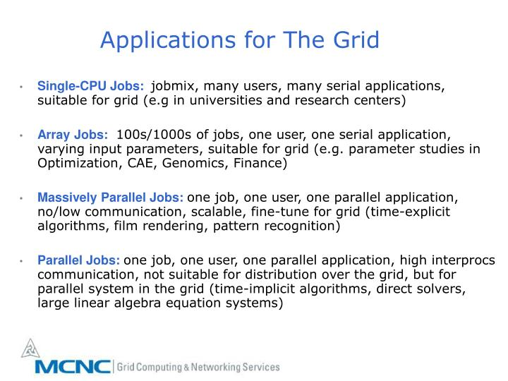 Applications for The Grid