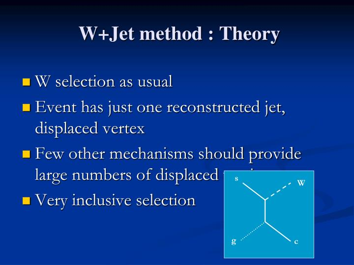 W+Jet method : Theory