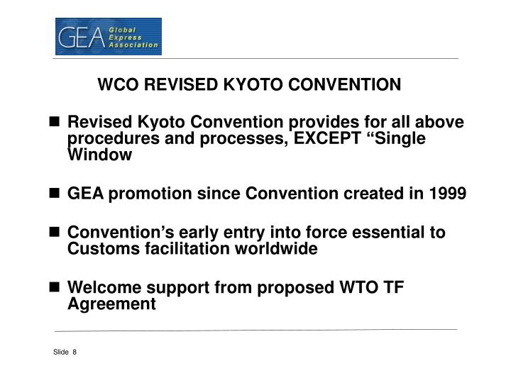 WCO REVISED KYOTO CONVENTION