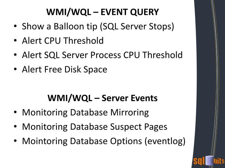 WMI/WQL – EVENT QUERY