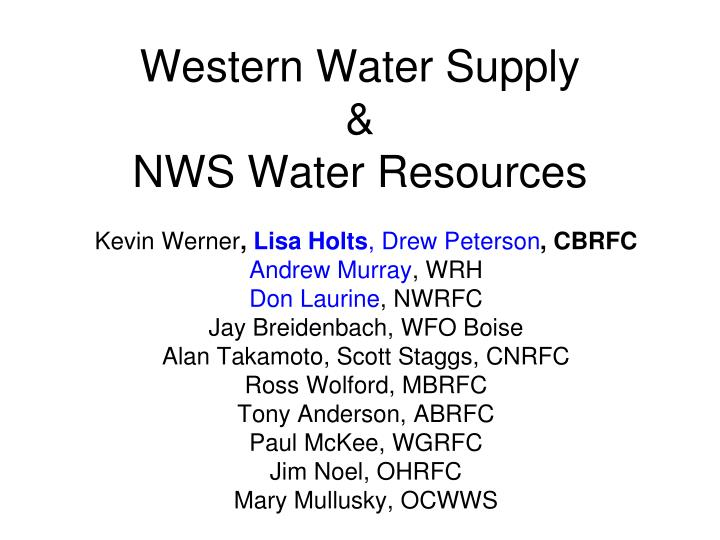 Western water supply nws water resources