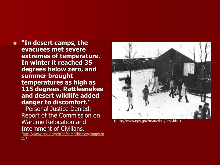 """""""In desert camps, the evacuees met severe extremes of temperature. In winter it reached 35 degrees below zero, and summer brought temperatures as high as 115 degrees. Rattlesnakes and desert wildlife added danger to discomfort."""""""