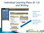 individual learning plans 6 12 and writing