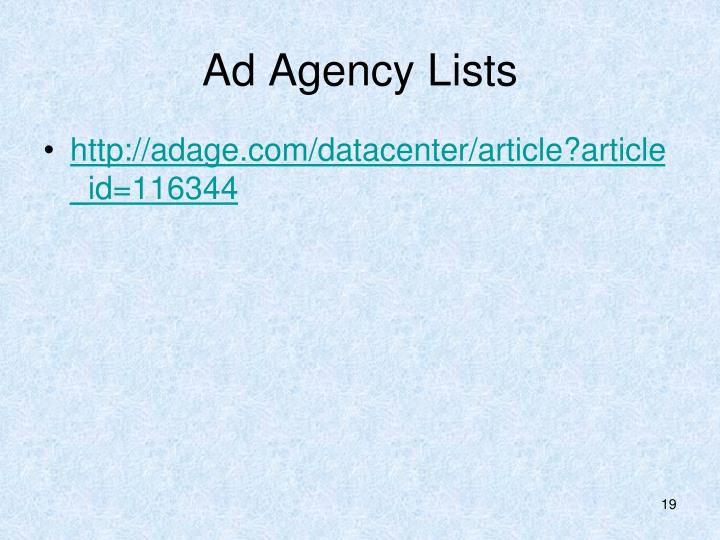 Ad Agency Lists