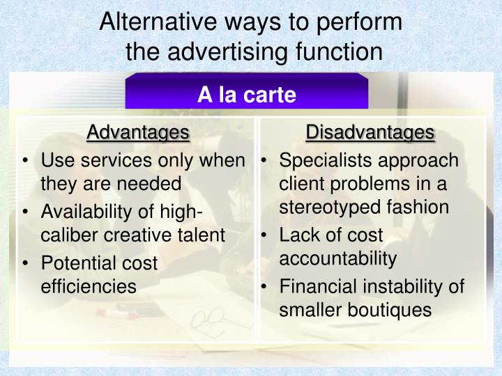 Alternative ways to perform