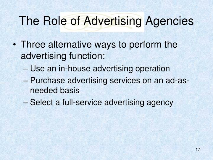 The Role of Advertising Agencies
