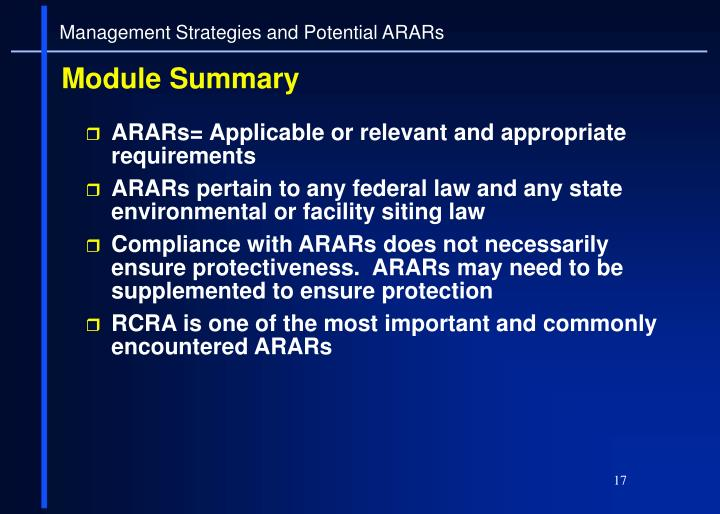 Management Strategies and Potential ARARs