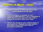 injuries at work cont