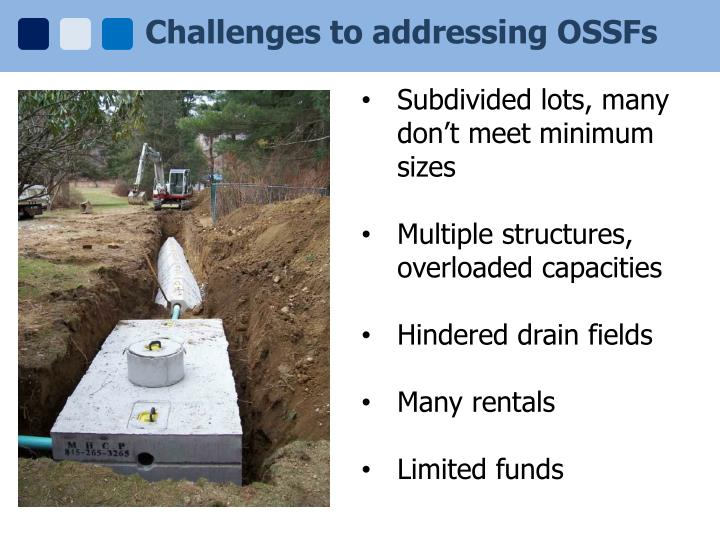 Challenges to addressing OSSFs