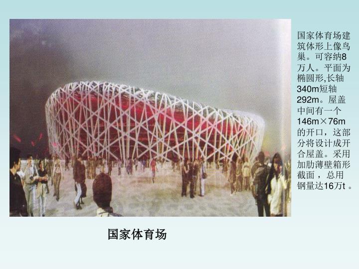 国家体育场建筑体形上像鸟巢。可容纳