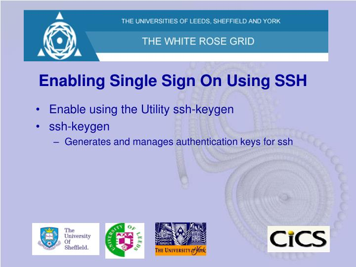 Enabling Single Sign On Using SSH