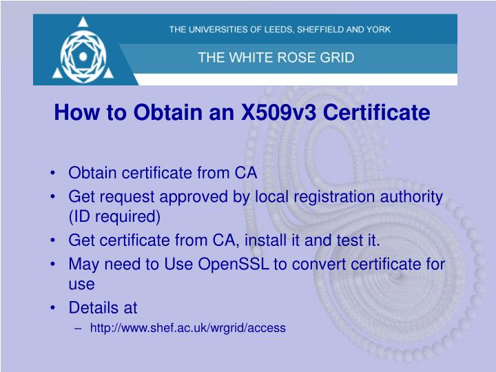 How to Obtain an X509v3 Certificate