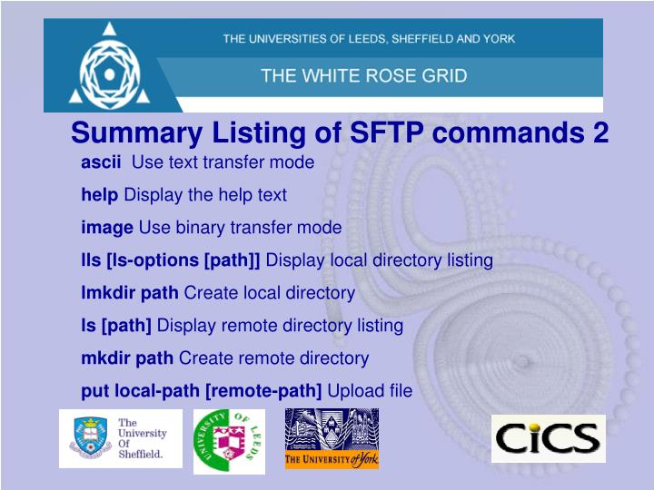 Summary Listing of SFTP commands 2