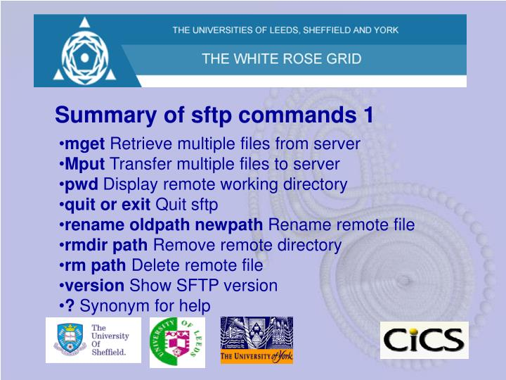 Summary of sftp commands 1