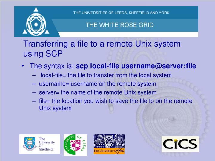 Transferring a file to a remote Unix system using SCP