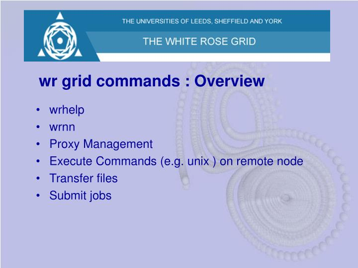 wr grid commands : Overview
