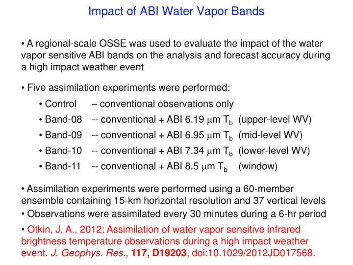 Impact of ABI Water Vapor Bands