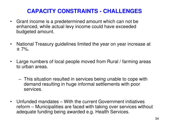 CAPACITY CONSTRAINTS - CHALLENGES