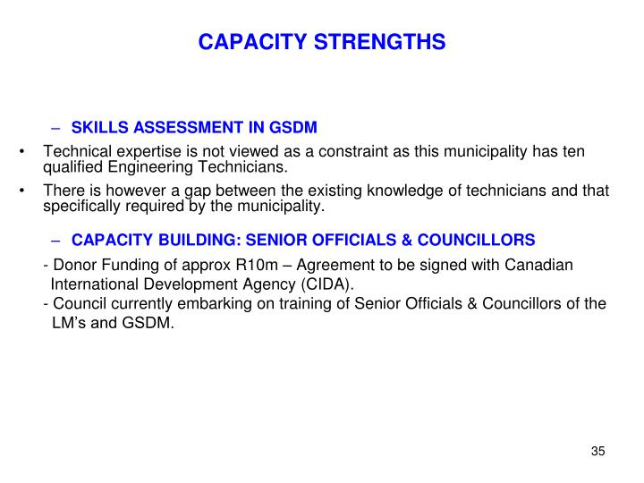 CAPACITY STRENGTHS