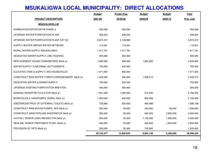 MSUKALIGWA LOCAL MUNICIPALITY:  DIRECT ALLOCATIONS