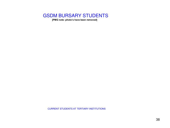GSDM BURSARY STUDENTS